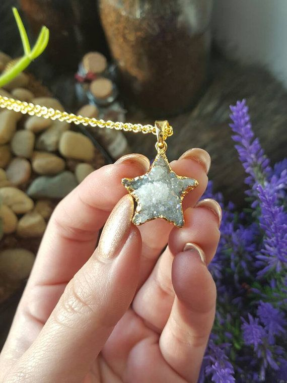 Angel Aura Quartz Crystal Star Necklace by MoonlitCreatures