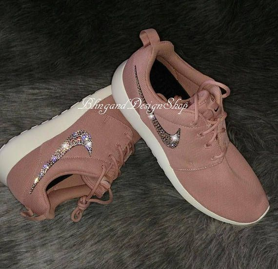 Swarovski Pink Nike Shoes Women s Nike Roshe One Crystal Rhinestones Bling  Custom Tennis Shoes 9803ee1d2c