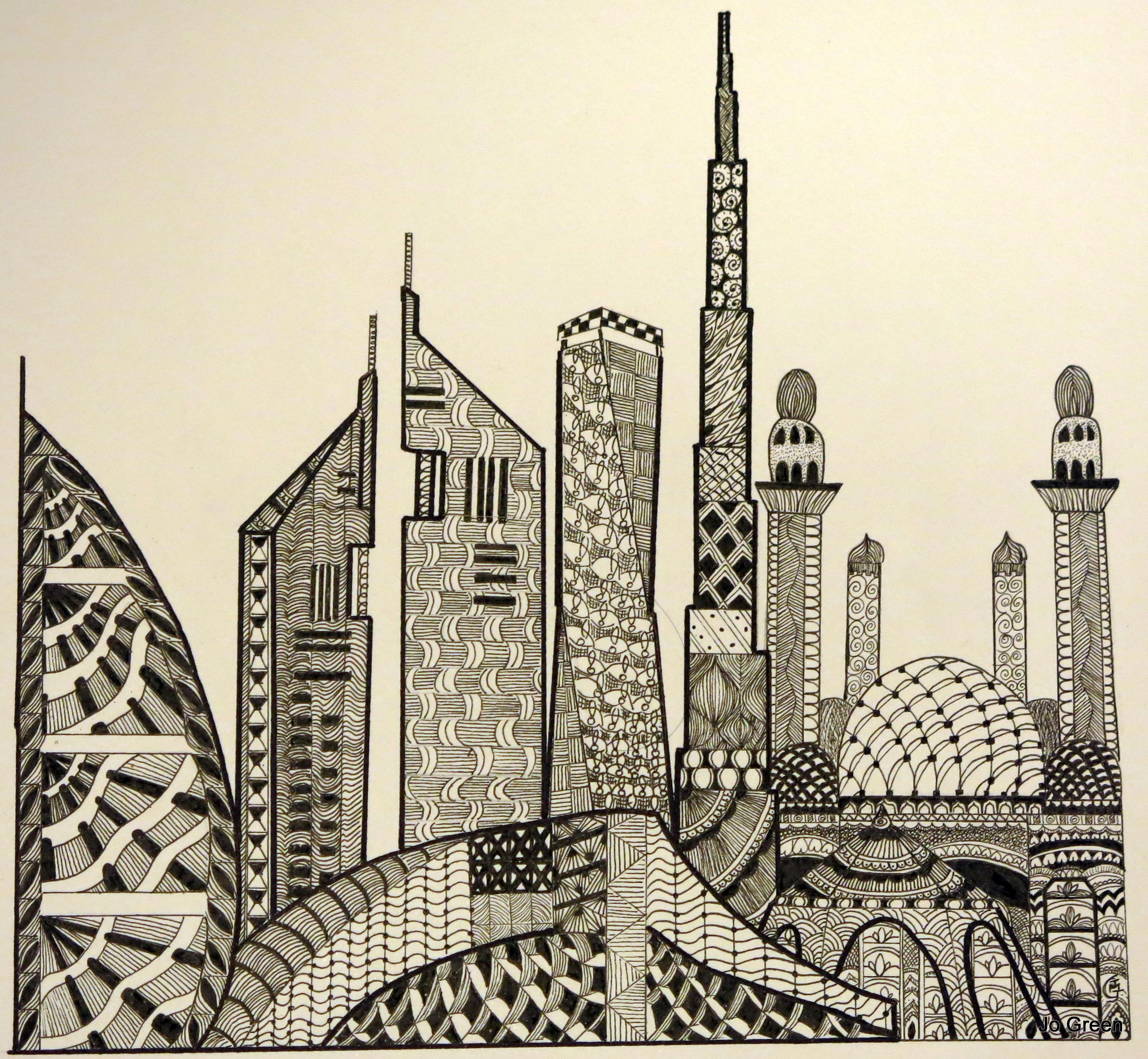 My First Zentangle Of The Dubai Skyline Which I Sold And Is Now