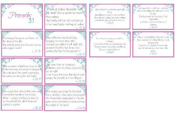 Printable Proverbs 31 Scripture Cards Bible Journaling Pinterest