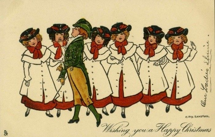 Old Christmas Post Card  —   Edwardian Line of Women , c.1915 (700x447)