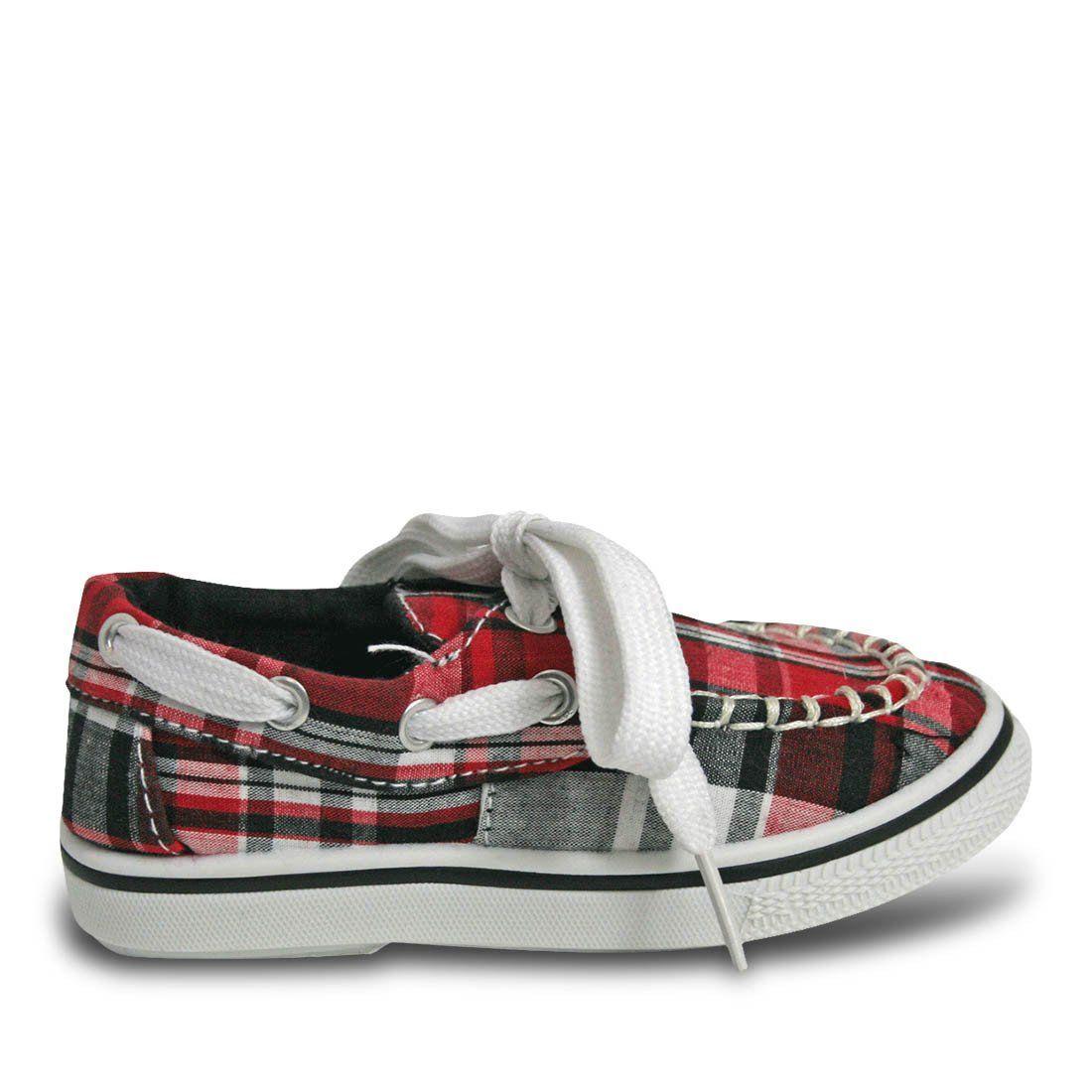 183e3cbdb86 Girls  Kaymann Boat Shoes - Red Plaid