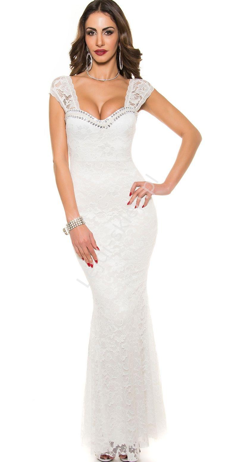 bd3f4e0c98 Biała sukienka wieczorowa z koronki