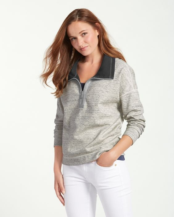 Tommy bahama- women's flip side reversible cowl-neck half-zip ...