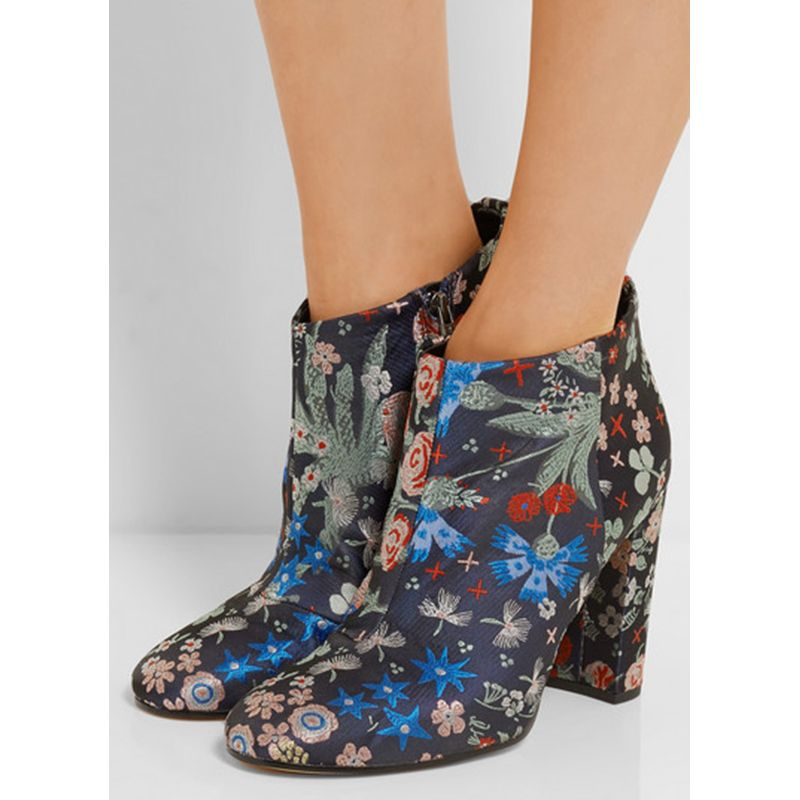 Ankle Boots For Women With Floral Embroidery Sky High Heels Platform Ethnic In Winter Autumn