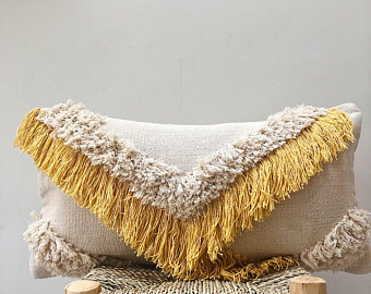 Boho yellow mustard cushion ~ cream moroccan tassel pillow ~ lumbar rectangular cushion