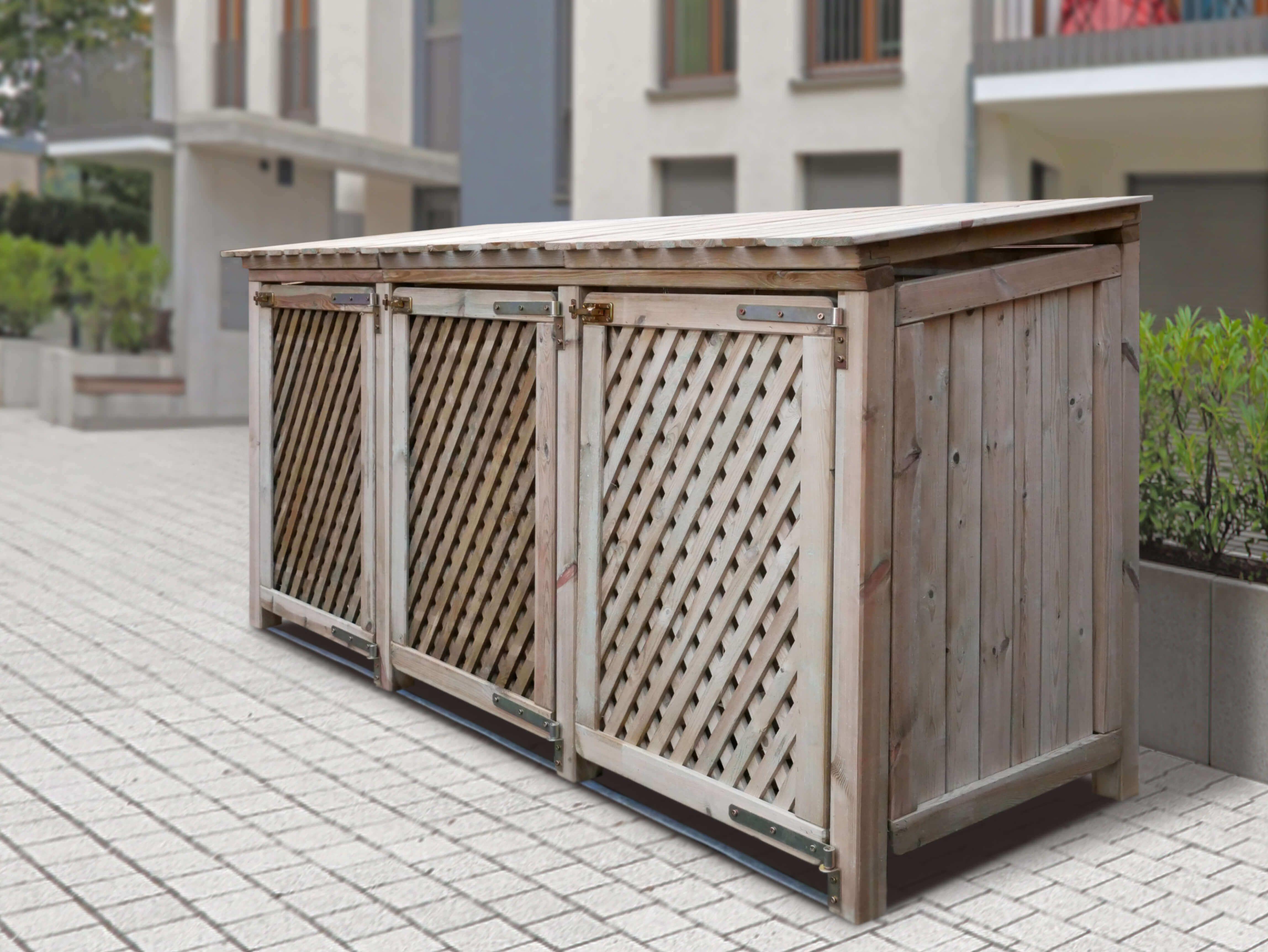 Mülltonnen 3 er Box Baltrum braun und natur
