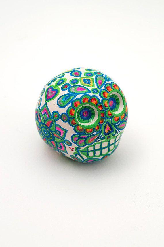 Mini Sugar Skull Hand Painted Halloween Decoration Desk Decoration - halloween desk decorations