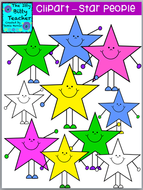Teacher's Notebook freebie=Star People Clipart from Jamie Harnar on TeachersNotebook.com -  (10 pages)  - This is a cute set of Star People Clipart.