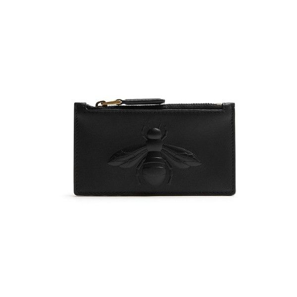 50f9753a877d41 Gucci Bee-embossed leather cardholder ($360) ❤ liked on Polyvore featuring  men's fashion