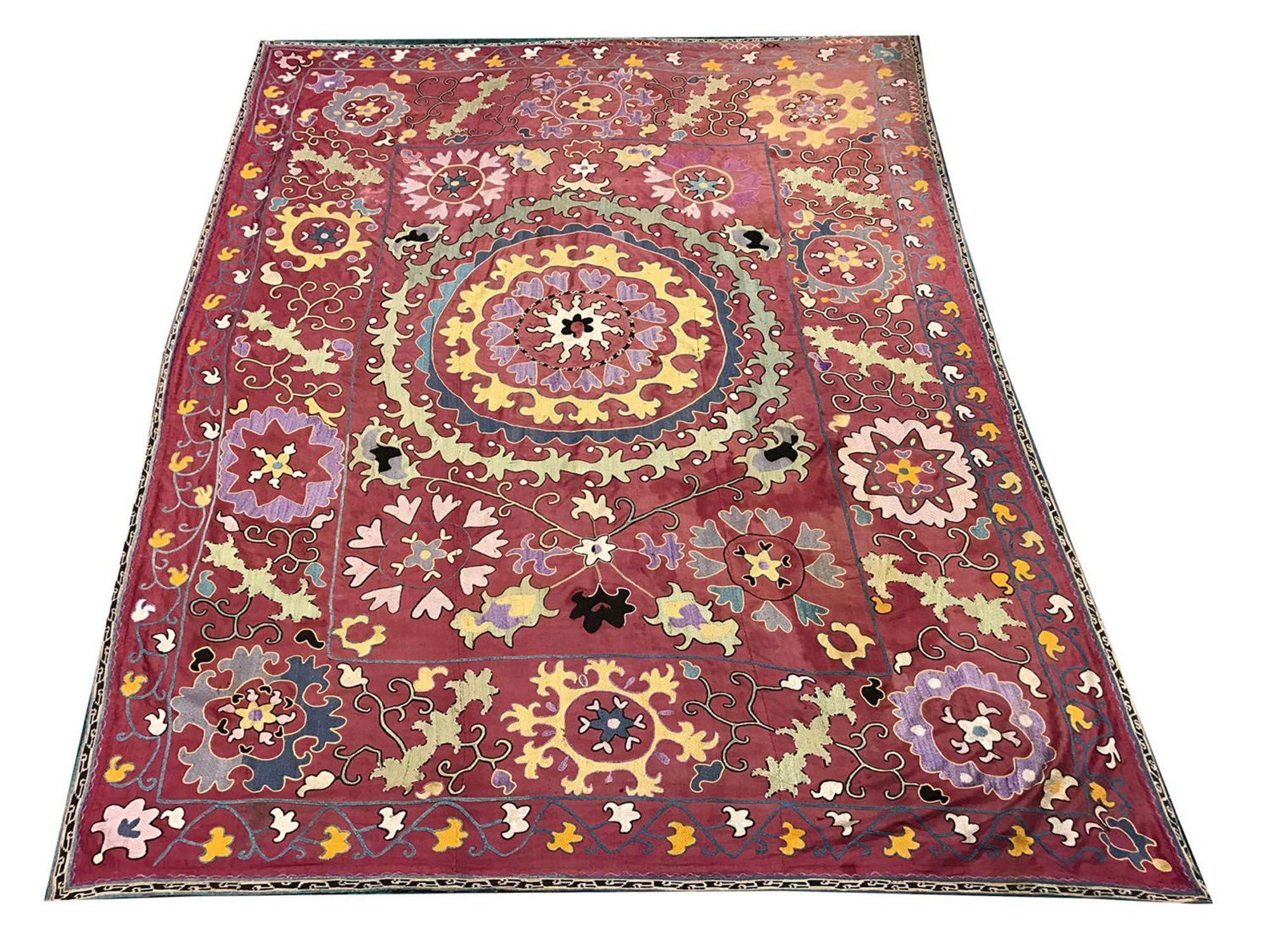 Antique Handmade Suzani Table Cover Suzani Fabric Suzani Handmade Bedspreads