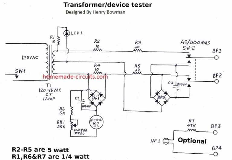 Simple Transformer Winding Tester Circuit Transformer Winding Circuit Projects Transformers