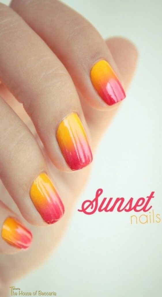 ~Ombré Sunset Inspiration nails   The House of Beccaria