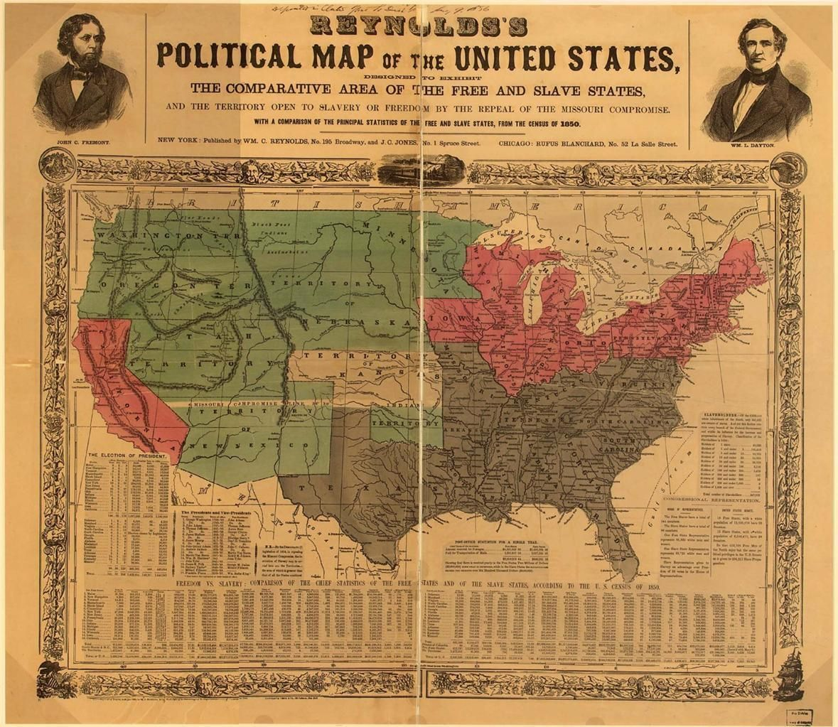 1850 POLITICAL MAP OF THE USA GLOSSY POSTER PICTURE PHOTO free slave