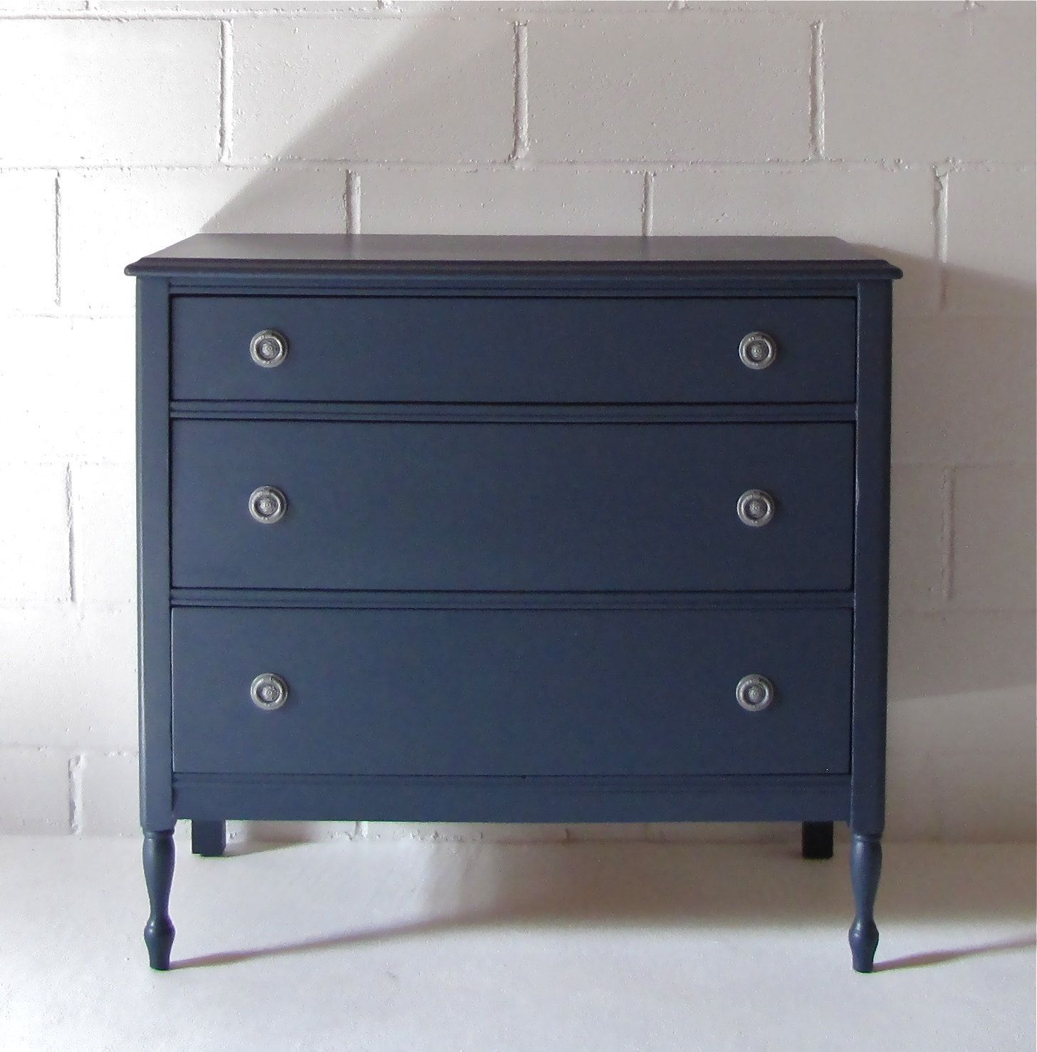 Navy blue antique dresser via etsy painted for Navy blue painted furniture