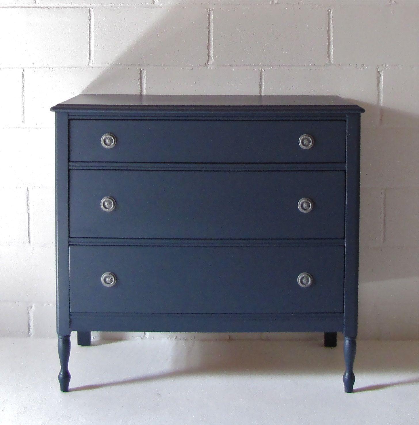 Navy Blue Antique Dresser Via Etsy Painted - Navy blue dresser bedroom furniture