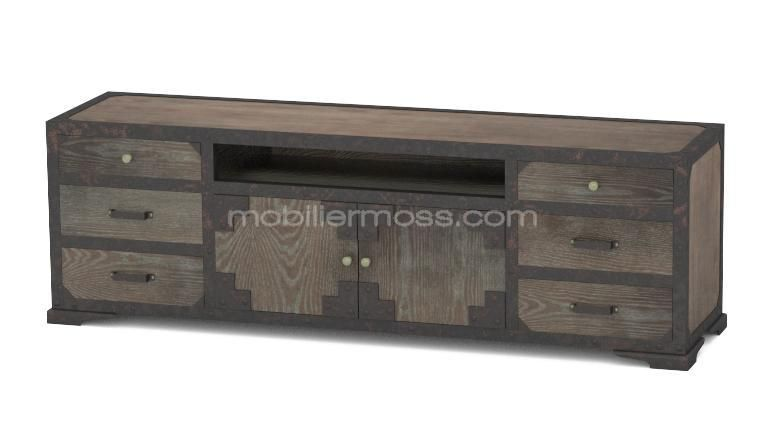 meuble tv chicago industriel face 2 mobiliermoss | Living room ...