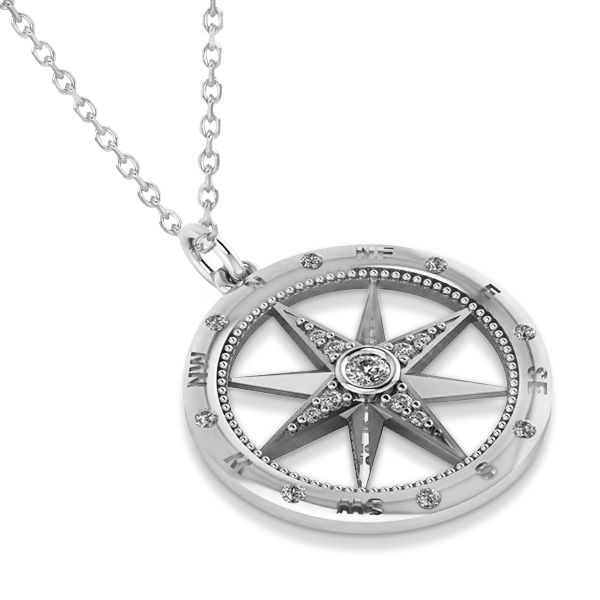 6733b9394 Compass Necklace Pendant Diamond Accented 14k White Gold (0.19ct) in ...