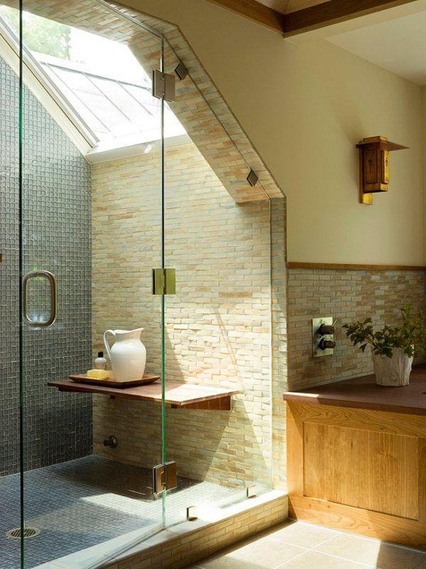 Slope Ceiling Bathroom Ideas Walk In Shower Modern Interior Design