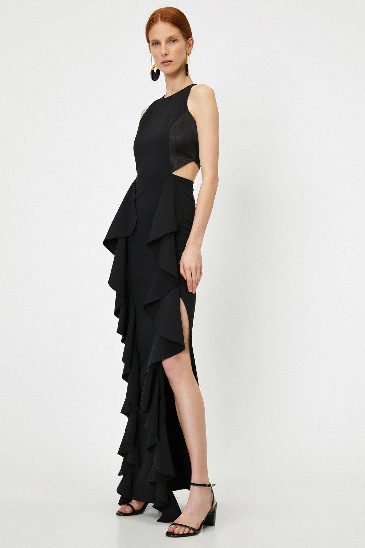 Koton Firfir Detayli Siyah Uzun Abiye Elbise Elbisebul Elbise The Dress Moda Stilleri
