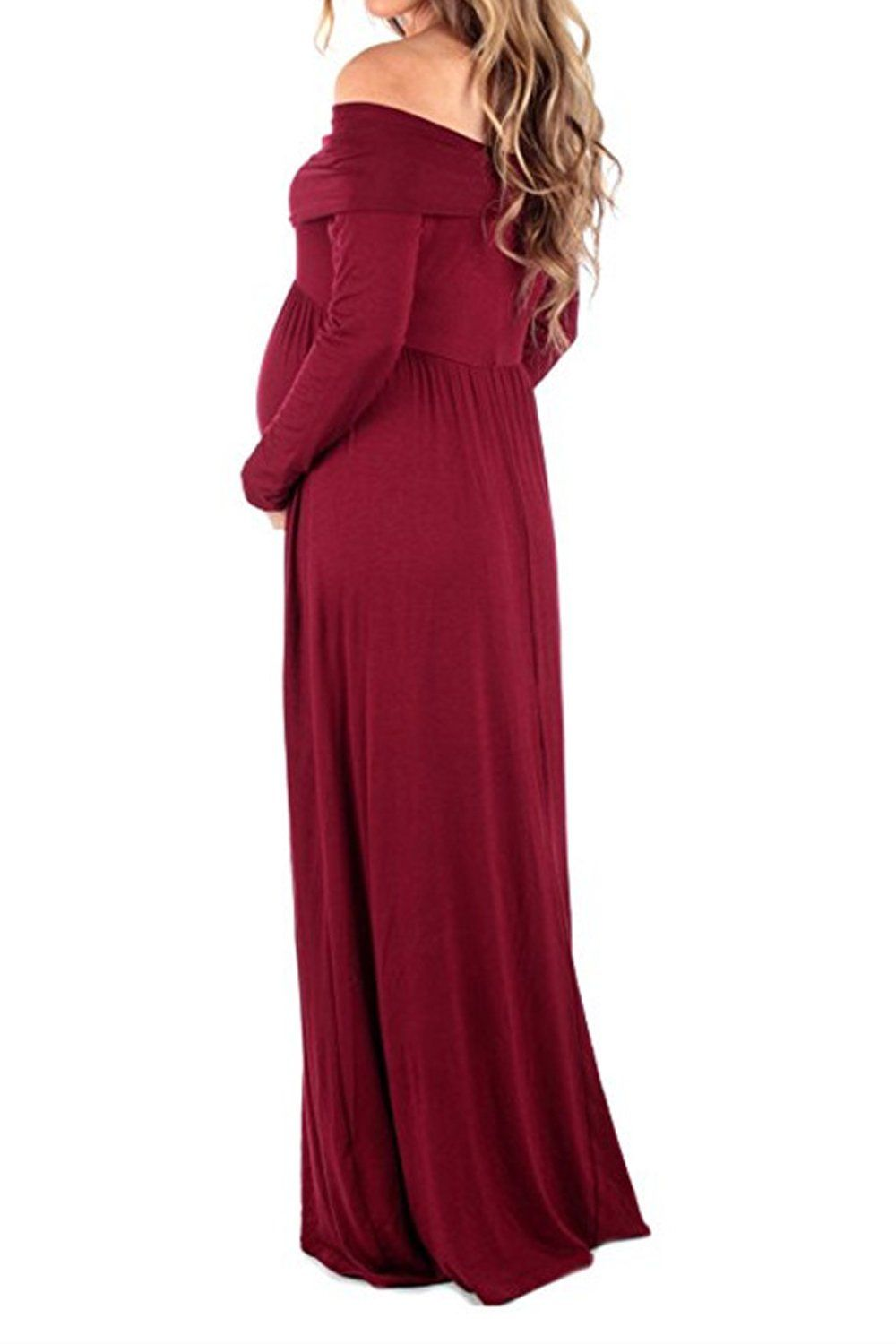697f94c62d963 Women Maternity Clothes - Maternity Dress Ruffle Off Shoulder Long Sleeve  Pregnant Gown High Waist Short Long Maxi Dress Red S *** Look into this  wonderful ...