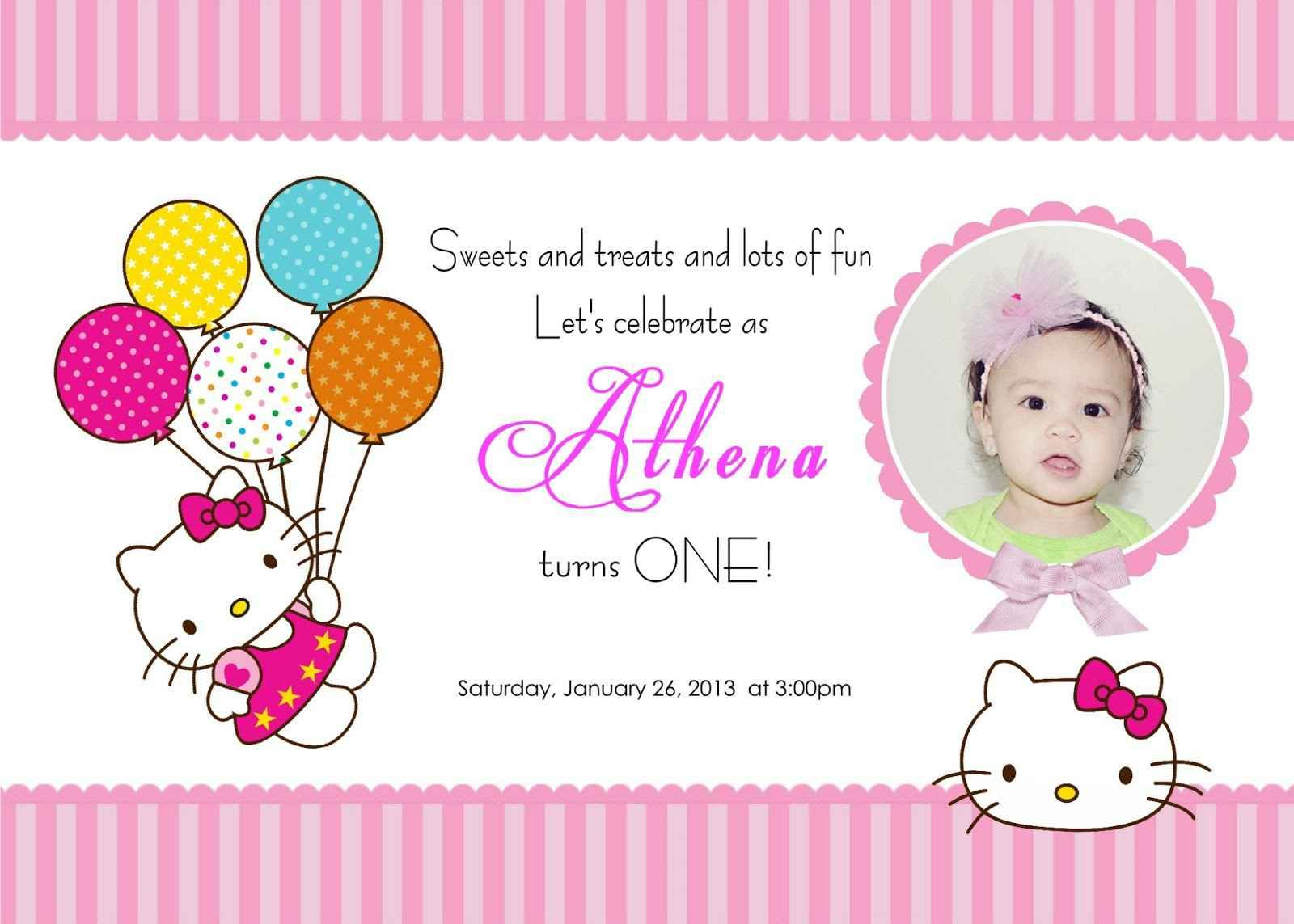 Hello Kitty Birthday Party Invitations  First Birthday Party