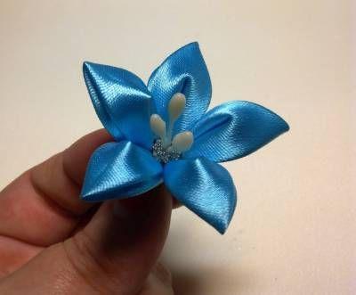 Фото цветка канзаши синего 75