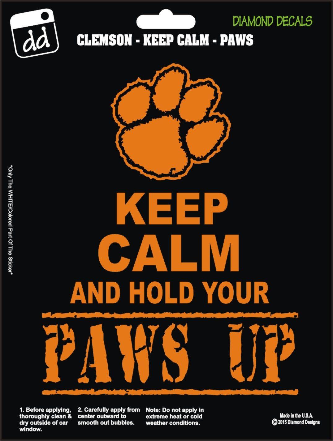 Clemson Tigers Paw Keep Calm Decal Vinyl Sticker Car Truck Laptop Suv Window Clemson Tiger Paw Tiger Paw Clemson [ 1426 x 1076 Pixel ]