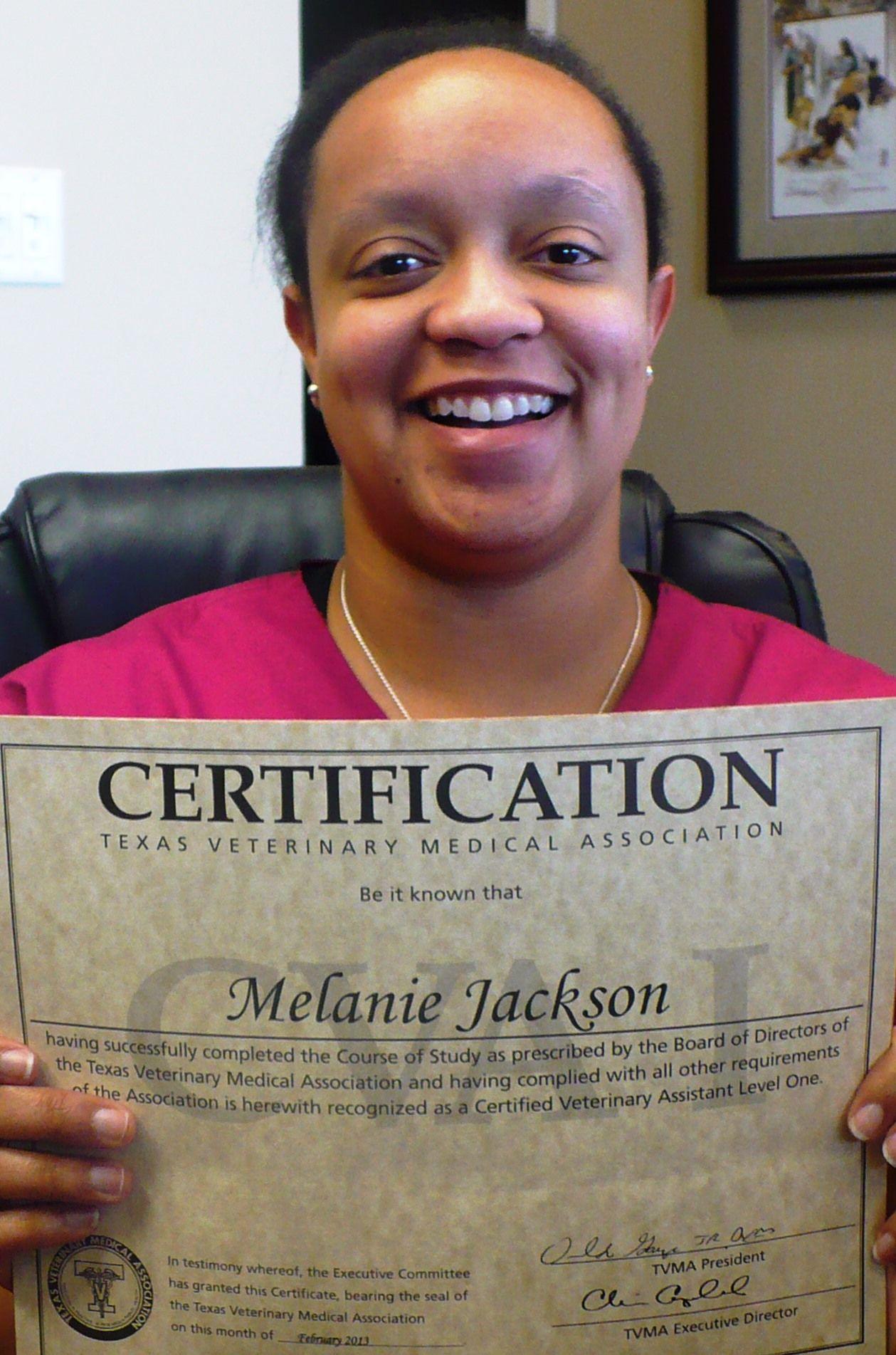 Congradulations melanie completing her certified