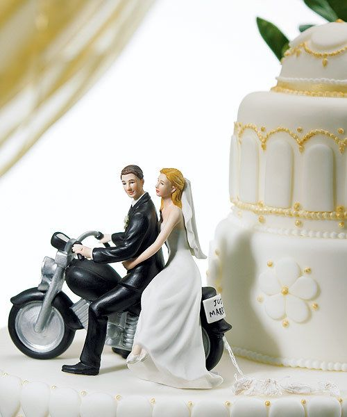 "Have to remember this one! Motorcycle ""Get-away"" Wedding Couple Cake Figurine - Pink Frosting Wedding Shop"