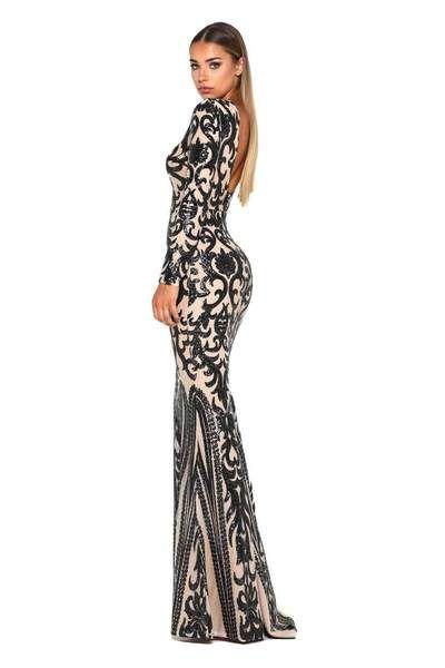 69643cf0 Portia and Scarlett 17001T Long Sleeve Gown, Bateau Neckline, Beautiful  Eyes, Bodice,