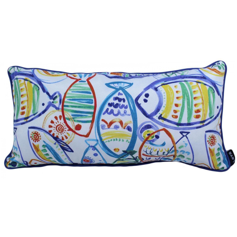 Blue Caribbean Fish Outdoor Lumbar Pillow W Piping By Lava Pillows 12 X 24 Outdoor Pillows Fish Throw Pillow Lumbar Pillow
