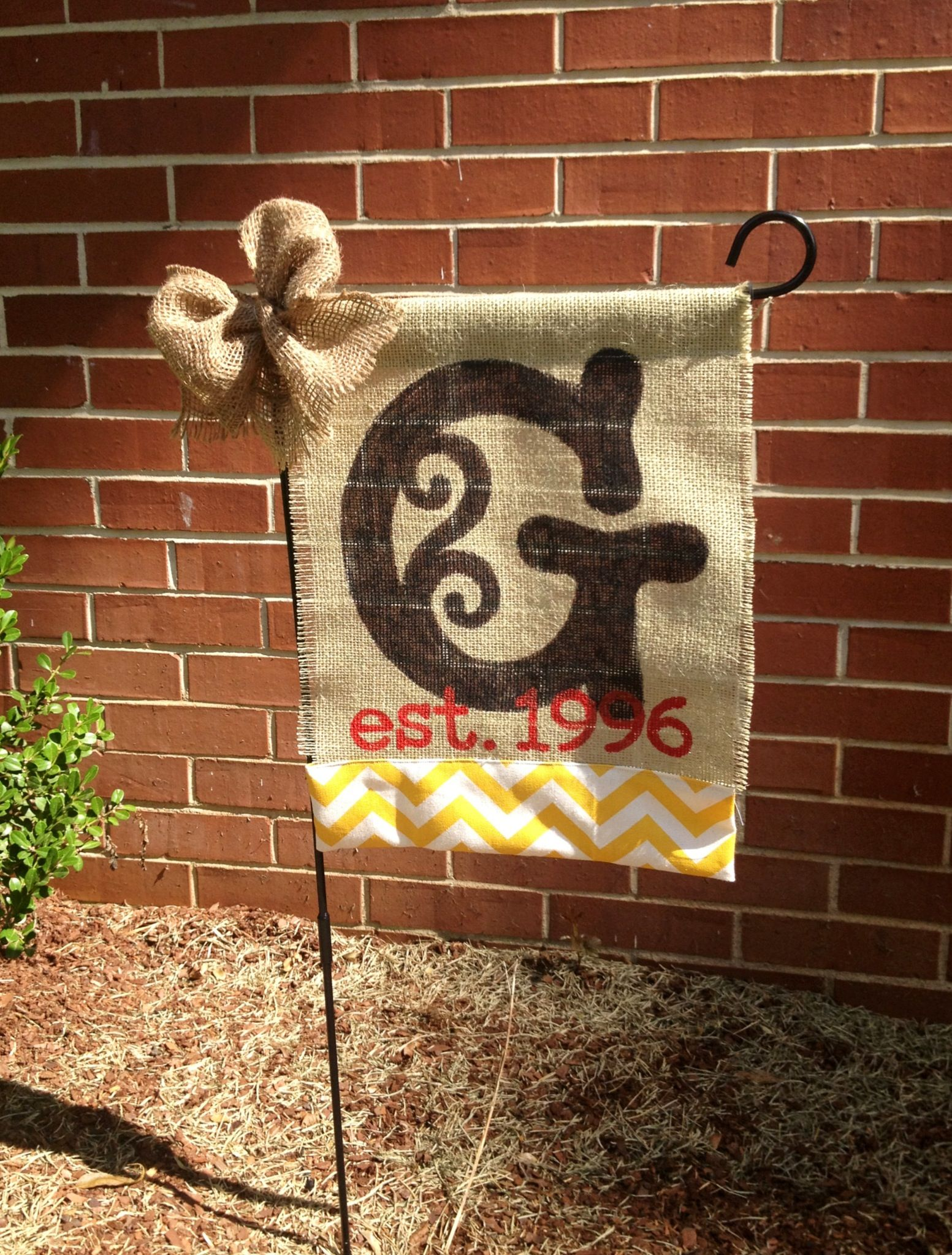 Burlap and chevron monogram flag. I created the stencil using my ...