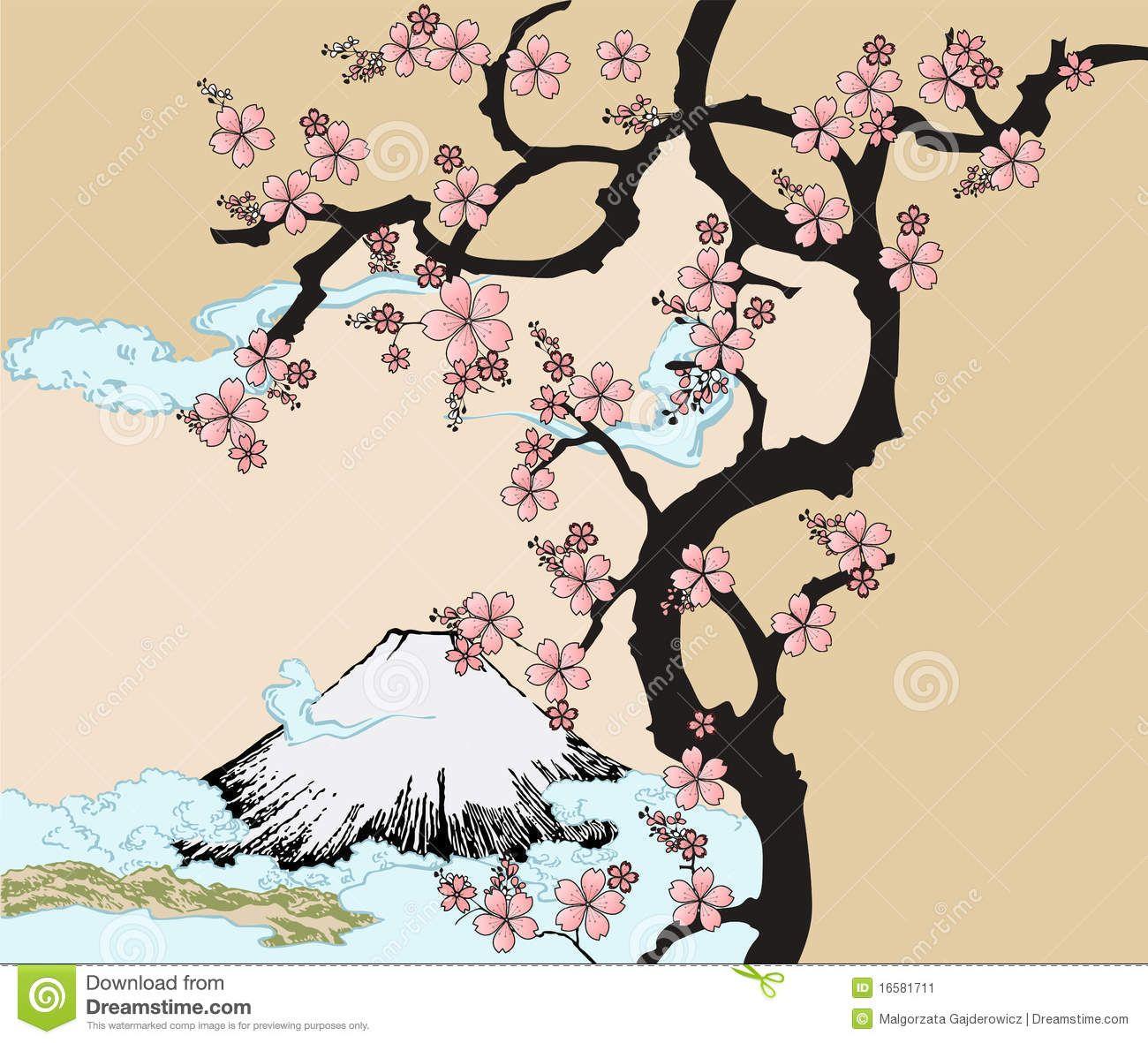 Cherry Blossom Japanese Art Japanese Drawings Japanese Painting