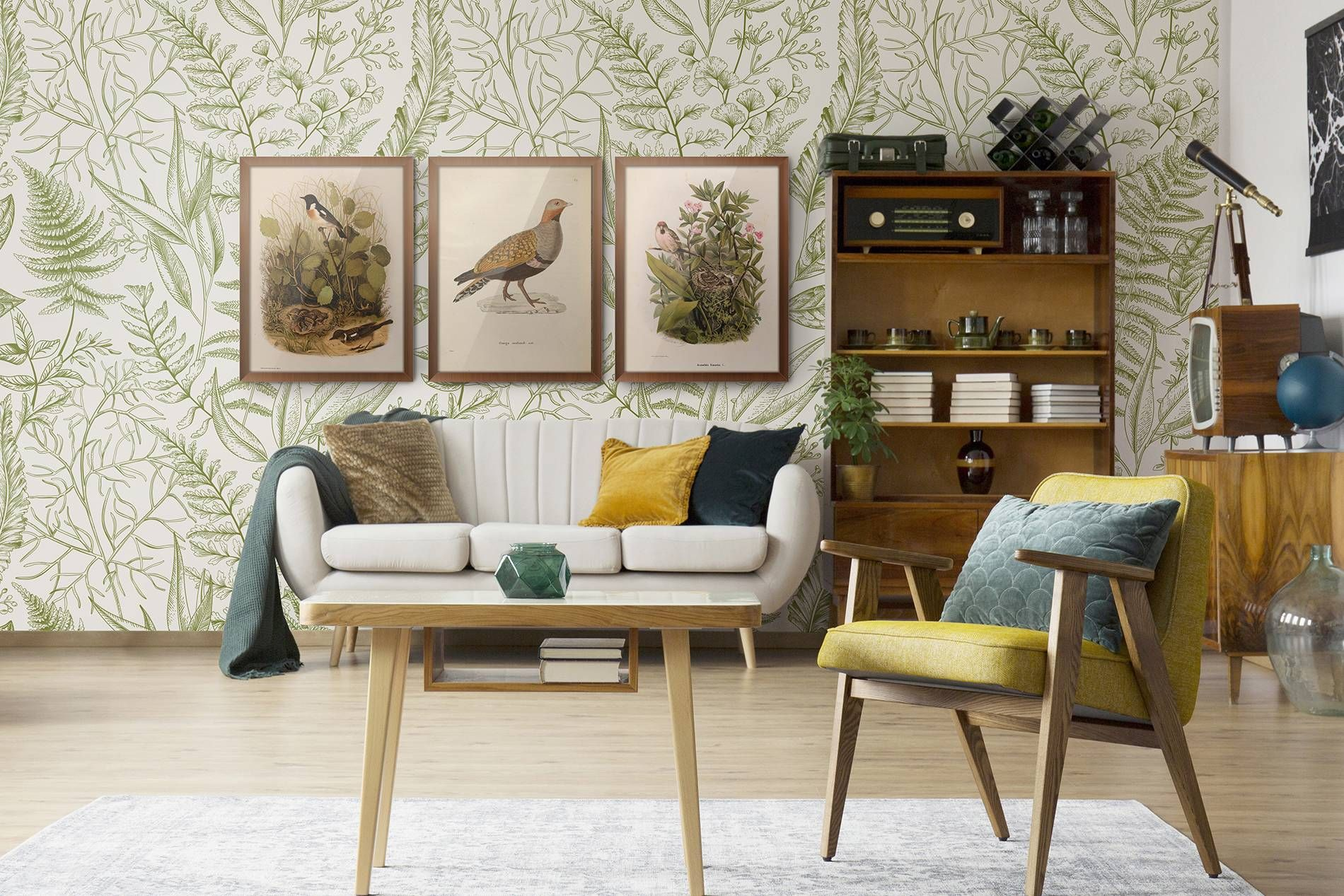 Botanical retro • Vintage Living room Nature Wall Murals