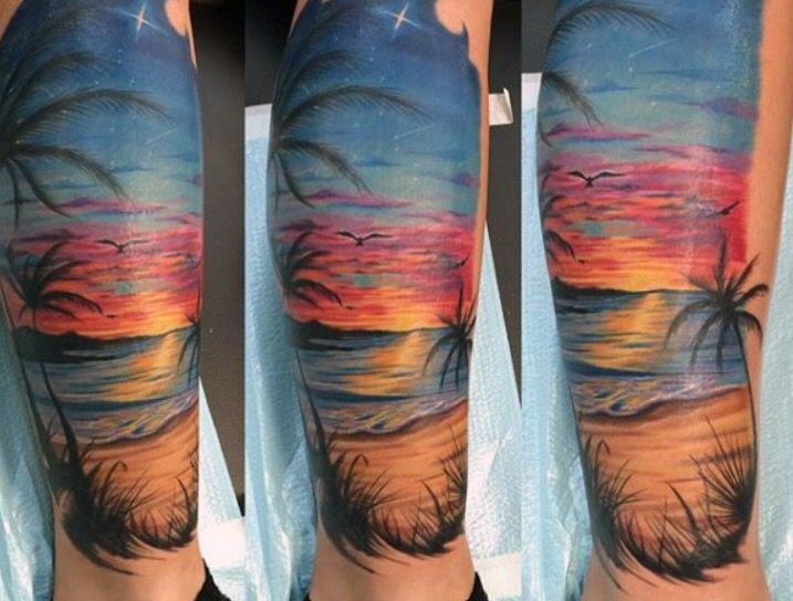 i 39 m loving this tattoo minus the palm tree i 39 ll be getting a sunset and water scene along with. Black Bedroom Furniture Sets. Home Design Ideas
