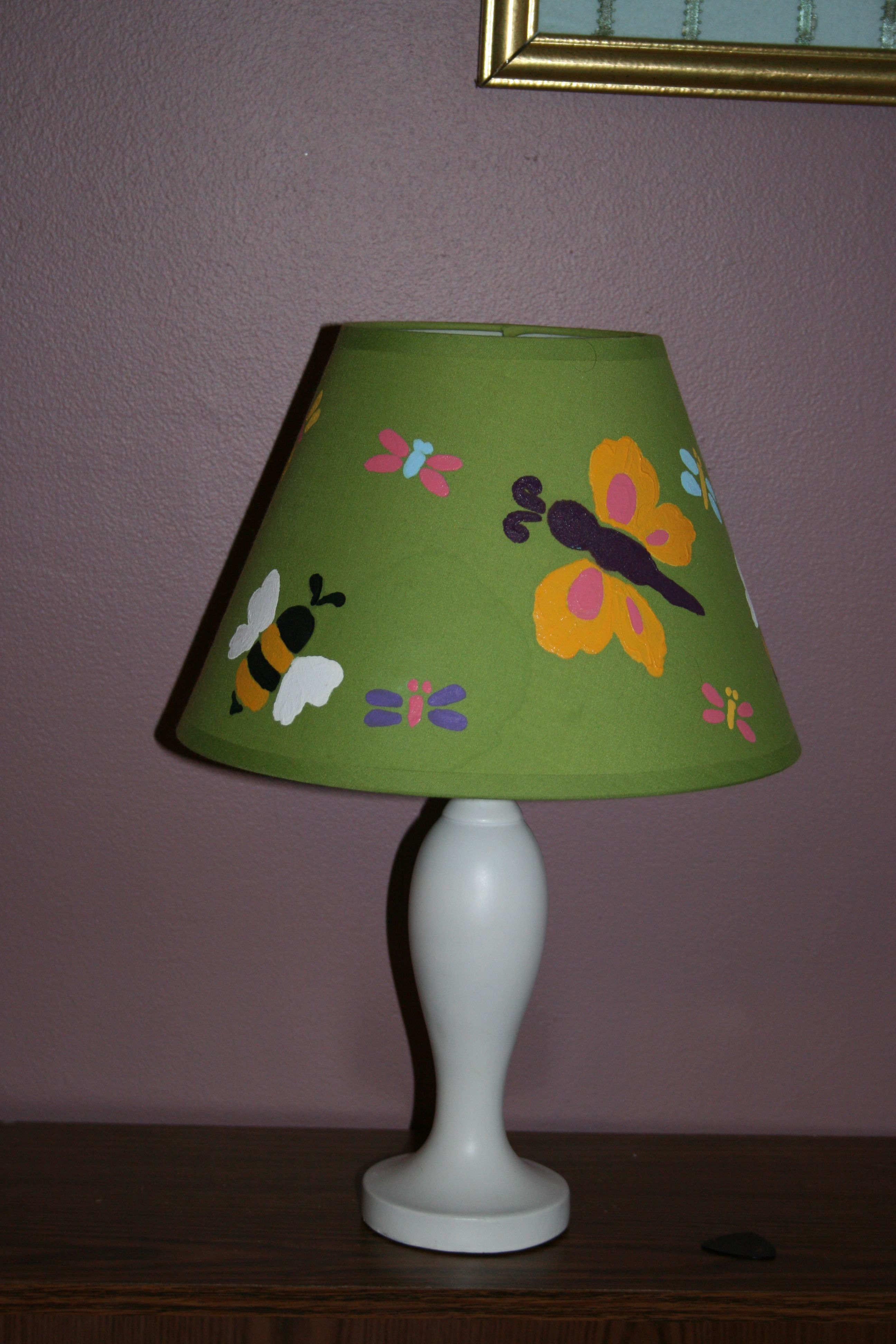 Paint lampshade with acrylic paint to match room decor ...