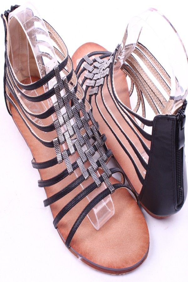 ef8ba7900672 BLACK STRAPPY FAUX LEATHER OPEN TOE ACCENTED MIDDLE SANDALS