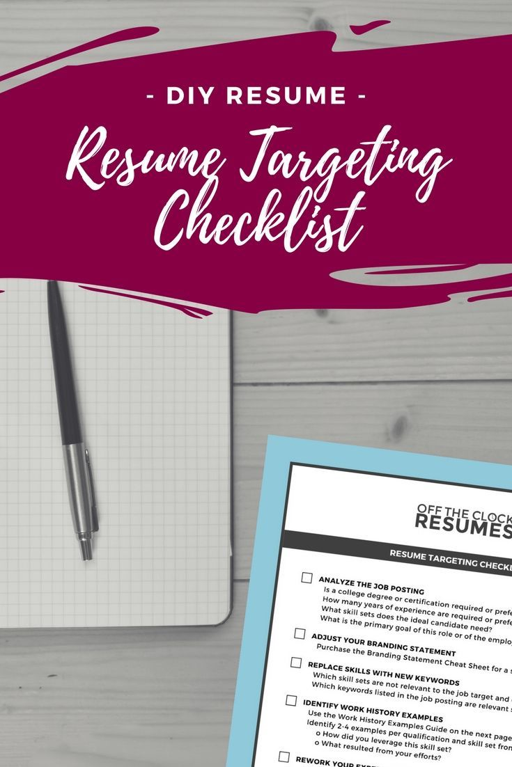 Resume Targeting Checklist Professional resume writers