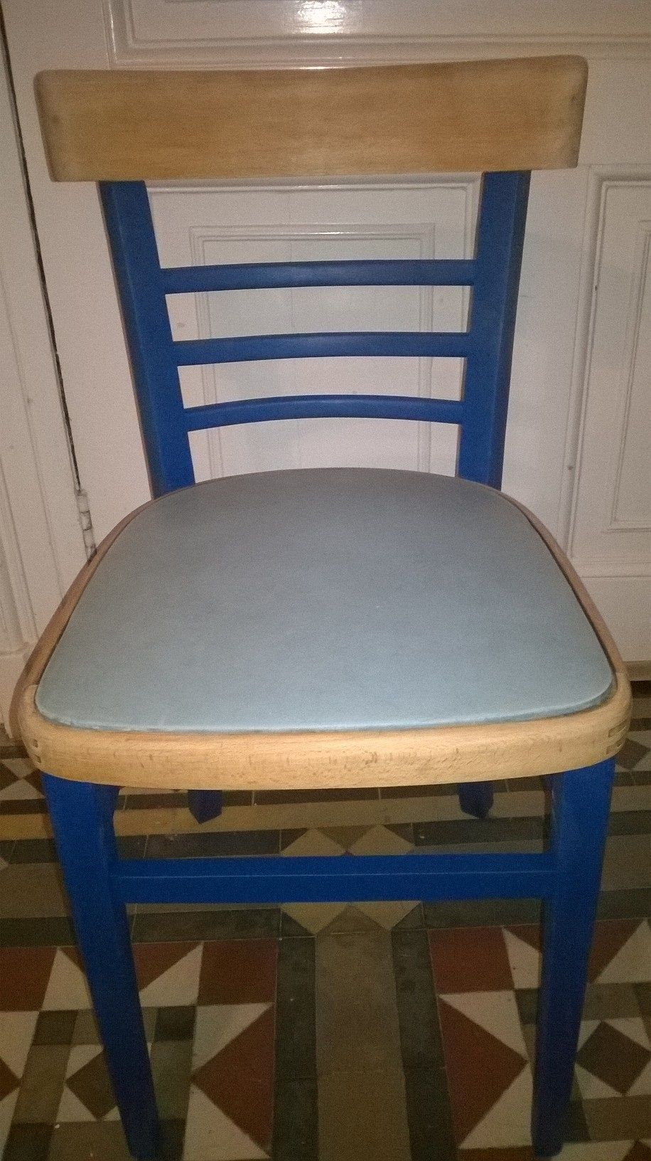 1950s kitchen chair, reloved in Nordic Blue by Autentico