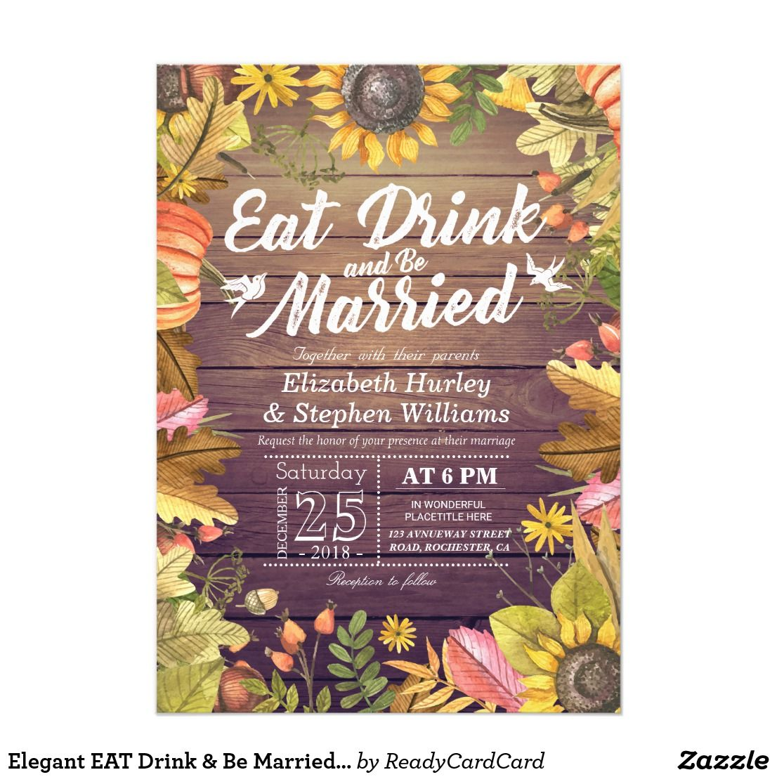 Wedding decorations for reception december 2018 Elegant EAT Drink u Be Married Wedding Invitations  Awesome Wedding