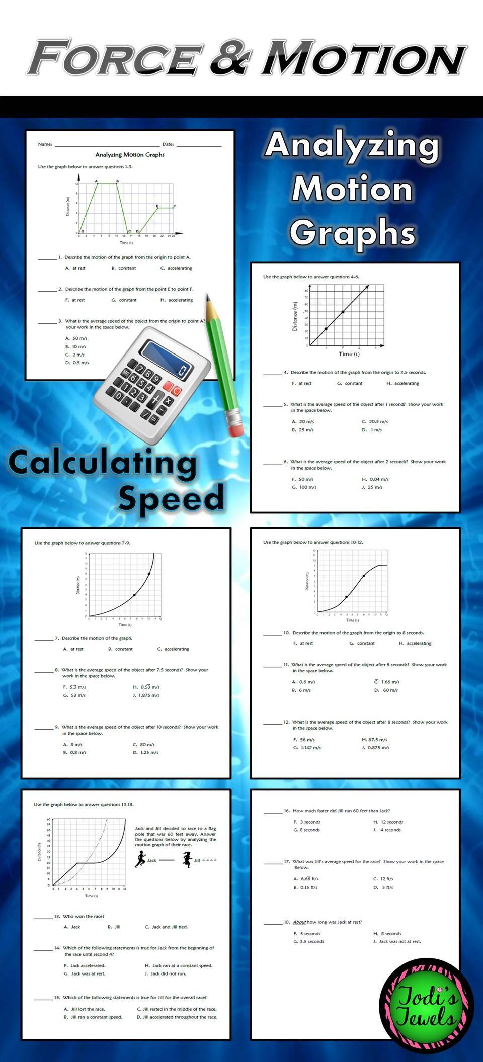 Analyzing Motion Graphs & Calculating Speed WS | Teaching ...