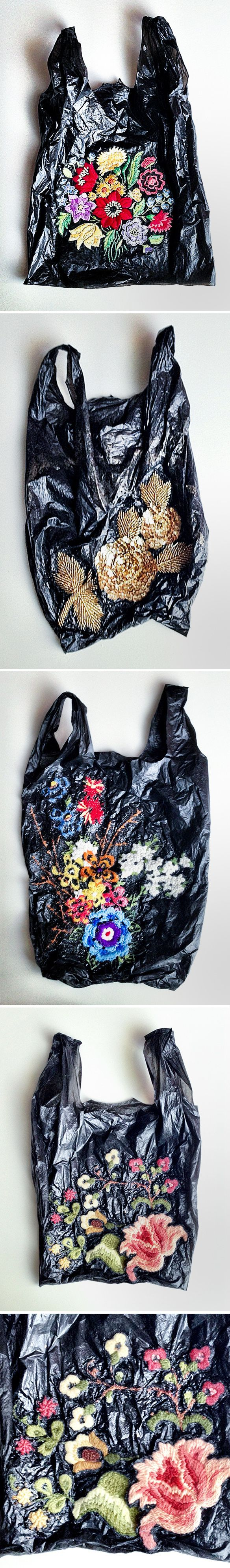 Embroidery on Old Plastic Shopping Bags: nicoletta daríta de la brown: