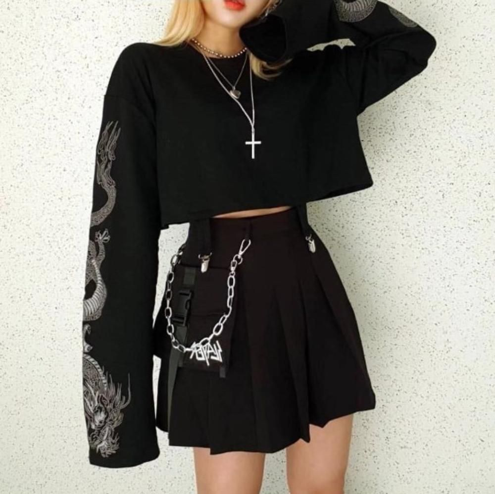 Photo of Gothic Grunge Dragon Embroidery Crop Top | Rock n' Doll