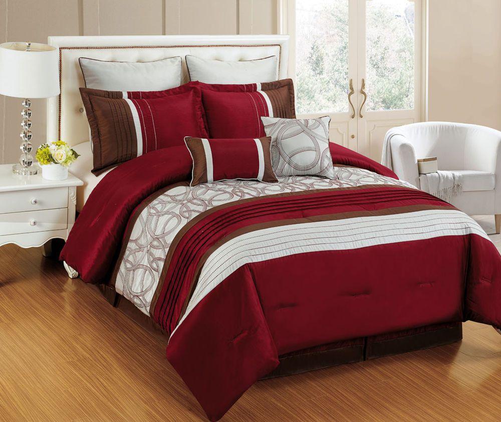 8 Piece Emerson Burgundy Ivory Rust Bedding Comforter Set Home