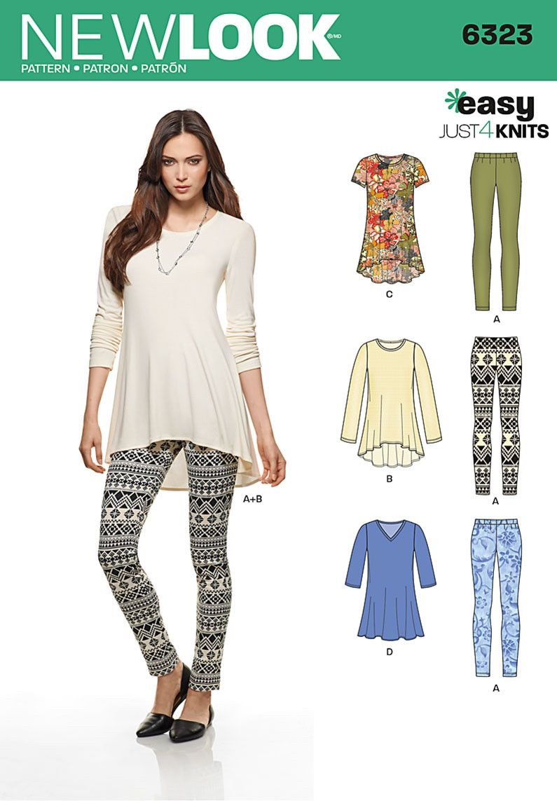 NL6323 Misses\' Knit Leggings & Pullover Tunics - XS-S-M-L-XL | Dress ...
