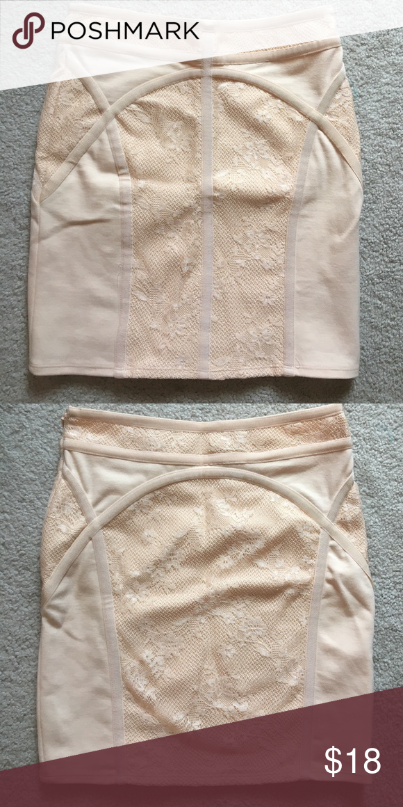 FREE PEOPLE high waisted skirt Size XS. Lace trimming. Zips on side. 70% polyester 25% rayon and 5% spandex. Front and back pictured. Amazing condition. Only worn once! Free People Skirts Mini