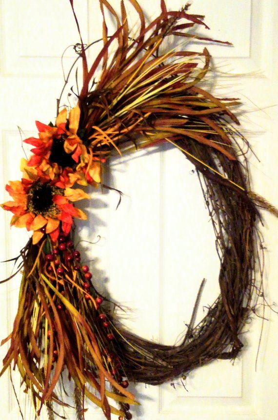 Clearance Thanksgiving Wreath Oval Fall Wreath Home