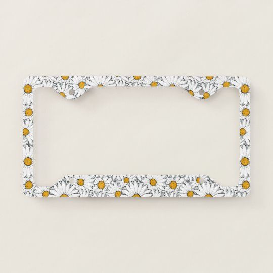 Modern Hip Simple Daisy Floral Pattern Watercolour License Plate Frame | Zazzle.com