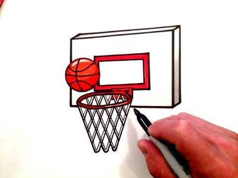 How To Draw A Basketball And Hoop Basketball Drawings Basket Drawing Basketball Art